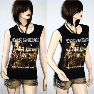 Iron Maiden Metal Rock DIY Sleeveless Raw Edge Vest Indie Style Tee