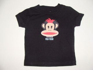 Paul Frank Punk Rocker Mohawk Piercing Monkey Black Top T Shirt 12 Mos