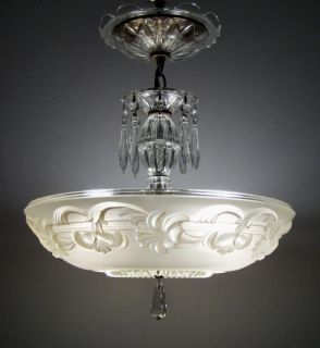 VICTORIAN ART DECO FLORAL SHADE CHANDELIER CEILING LIGHT FIXTURE
