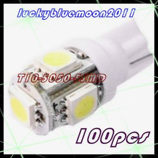 100 PCS T10 5050 W5W 5 SMD 194 168 LED White Car Side Wedge Tail Light