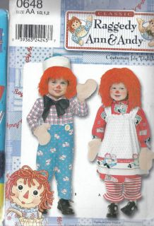 toddler 1 2 1 2 raggedy ann andy costumes pattern