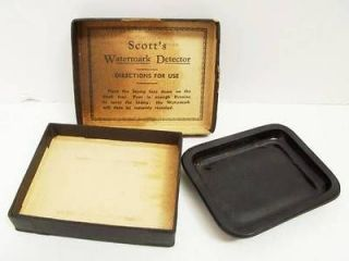 VINTAGE SCOTTS WATERMARK DETECTOR 1930 40 BLACK AMETHYST GLASS STAMP