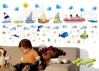 Boats, ships, ocean/ sea life wall stickers scene   removable