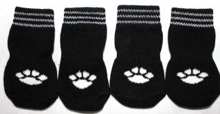 USA SELLER Non Slip Grip Dog Cat Socks Skid Free BLACK for Small Breed