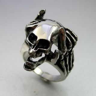 Biker Black Silver Stainless Steel Skull Thinker Mens Ring Size 9