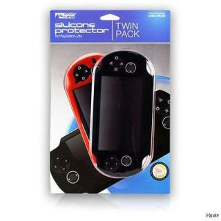 Black Red Silicone Protector Case 2 Pack (Komodo) NEW PSP Twin Fitted