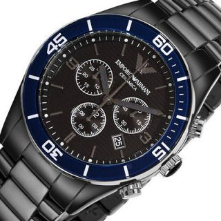 Chronohraph EMPORIO ARMANI Mens Black Ceramic Analog Watch Bracelet