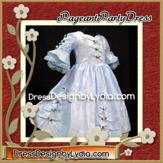 Blue Victorian Pageant Toddler Gown Dress 5/6 Little Girl Western Wear