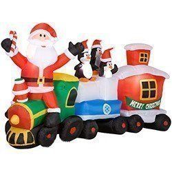 10 FT LONG GEMMY AIRBLOWN INFLATABLE SANTA CLAUS PENGIN TRAIN