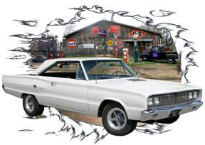 1967 White Dodge Coronet RT Custom Hot Rod Garage T Shirt 67, Muscle