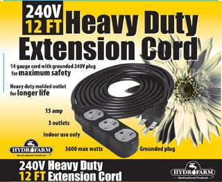 Heavy Duty Extension Cord 12 ft 240V 14 Gauge Grounded 3 Outlet