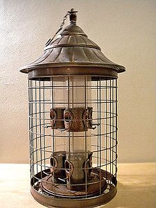 Vintage Copper 6 Port Squirrel Proof Outdoor Bird Feeder