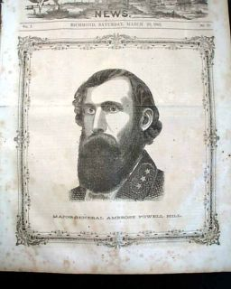 Illustrated Newspaper General Ambrose Powell A P Hill