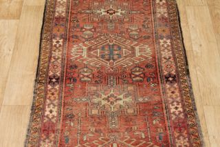 Tribal Geometric Rust Gharajeh Runner Persian Wool Oriental Area Rug