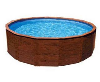 Knotty Pine 24x48 Above Ground Round Swimming Pool Kit Liner Cover