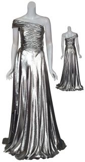 Reem Acra Liquid Platinum Long Gown Dress $4465 4 New