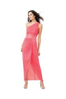 NWT Adrianna Papell One Shoulder Mesh Draped Gown with Beaded Waist 10