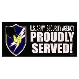 ASA Army Security Agency Military proudly Served Decal