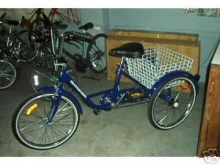 Wheel Adult Bike Tricycle Bicycle 6 Speed 24 Wheels Gomier Blue