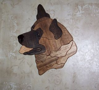 Akita dog intarsia wood carving wall hanging art