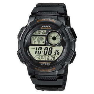 1A Mens World Time Digital Sports Watch Alarm Chronograph Resin