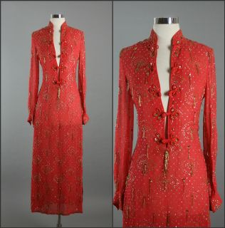 Vintage 60s 70s Albert Capraro Beaded Chiffon Cocktail Party Dress