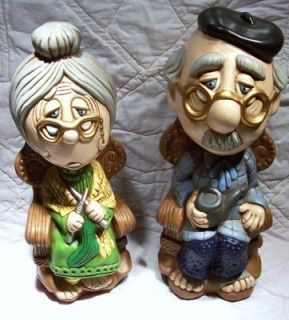 Folk Art Ceramic GRANDMA & GRANDPA BOOKENDS Bookcase Shelf Christmas