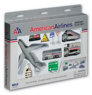 AMERICAN airlines die cast METAL airport PLAYSET toy PRESCHOOL