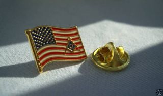 Masonic USA American Flag Lapel Pin and Pouch