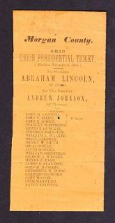Civil War Original Ohio Abraham Lincoln Andrew Jackson 1864