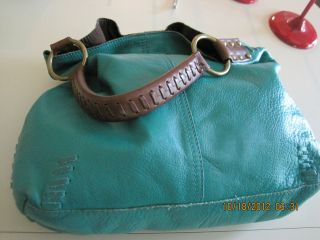 LUCKY BRAND WHIPSTITCH SLOUCHY HOBO, IN A DEEP TURQOUISE BLUE MINT