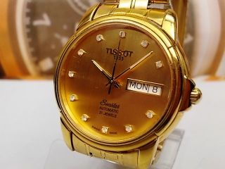 Tissot 1853 Seastar Day Date Plated Automatic Mens Watch Gold Dial