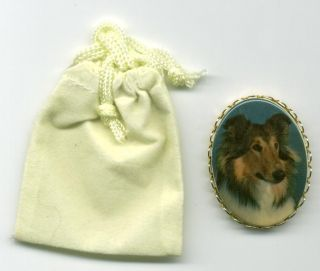 Collie Full Color Dog Vintage Cameo Pin Velour Bag