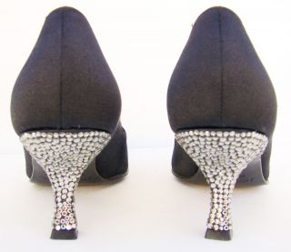 Anne Klein Collection Italy Black Satin CRYSTAL Heels Pumps 6 M