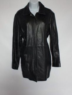 Anne Klein Black Leather 3 4 Length Leather Winter Coat Size L Nice