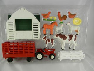 Farm Animal Playset Cow Calf Sheep Rooster Chicken Barn Tractor Wagon