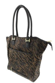 Anne Klein Brown Jacquard Animal Print Shopper Tote Handbag Extra