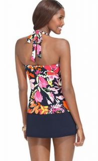 Anne Cole Navy Floral Skirted Halter Tankini Swimsuit L Large New