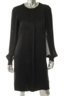 Anne Klein Silk Button Front Pleated Chiffon Long Sleeves Little Black