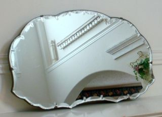 Antique Art Deco Ellipses & Diamond Point Beveled Glass Mirror
