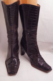 Antonio Melani Brown Faux Croc 8 M Womens Mid Calf Boots