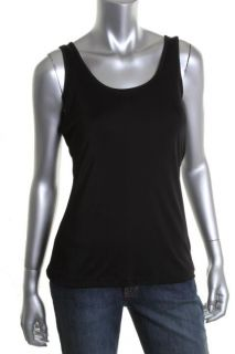 Anne Klein New Black Stretch Jersey Sleeveless Scoop Neck Tank Top M