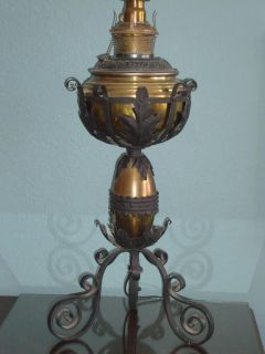 Antique Bradley Hubbard Oil Table Lamp Brass Arts Crafts Iron Gothic