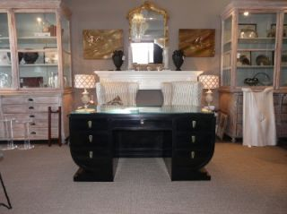 Deco Desk Etched Glass Top Black Lacquered 20s 30s Arbus WOW