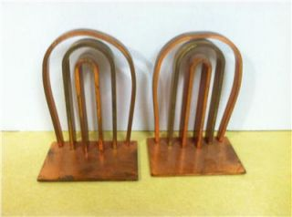 Antique Art Deco Chase Copper & Brass Triple Arch Bookends Walter von