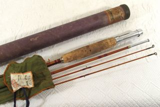 Vintage 1936 Pine River Shakespeare Split Bamboo Fly Rod 3 Piece 2