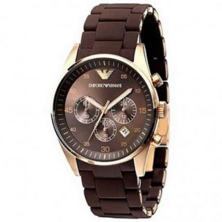 Emporio Armani Watch AR5890 Mens Brown Gold Chronograph Watches RRP £