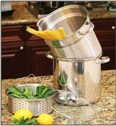 12qt Stainless Steel Stock Pot 4pc Deep Pasta Cooker Multi Steamer