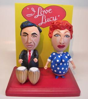 Love Lucy LUCILLE BALL & DESI ARNAZ cartoon egg art figure   1 OF