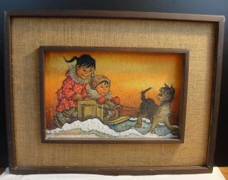 Alaskan Art Oil Painting Joan Arend Kickbush Framed Vintage Art